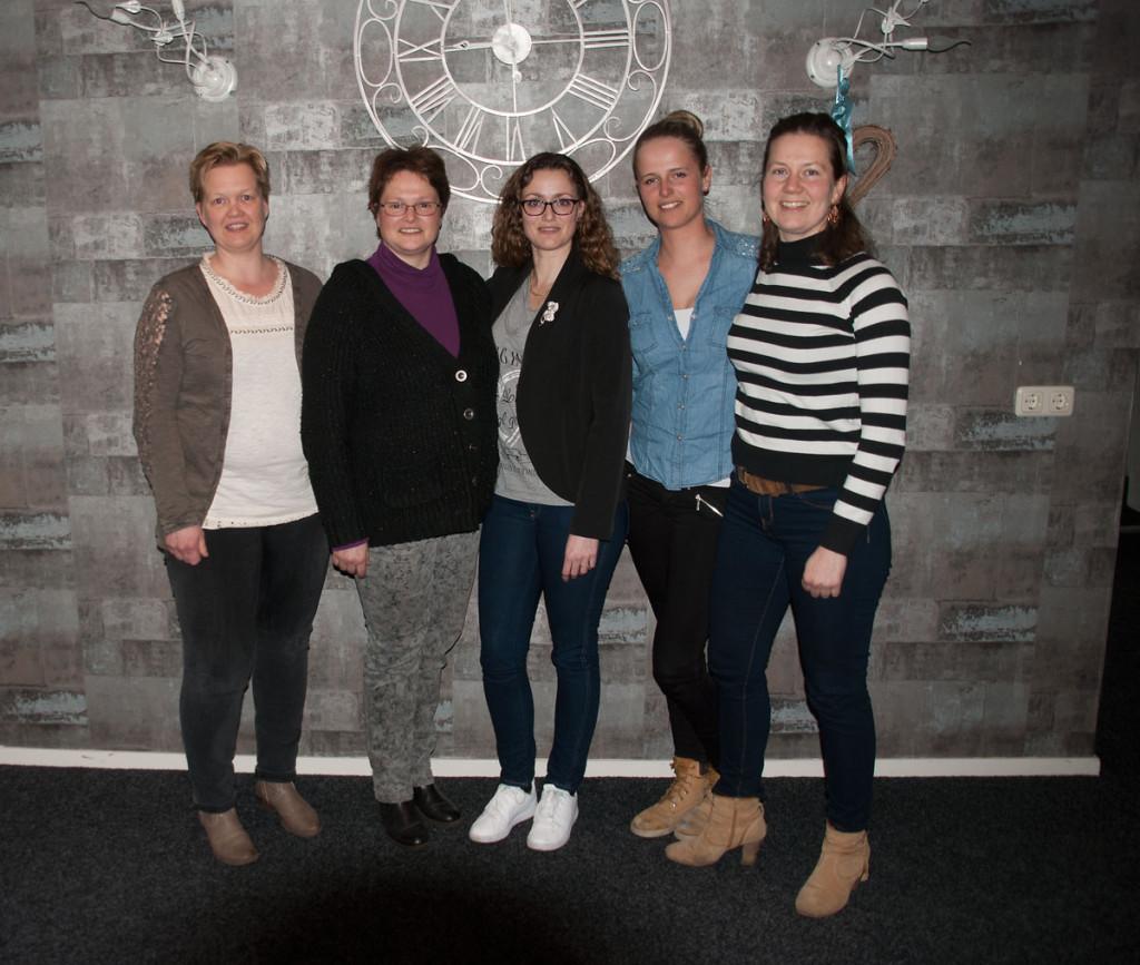 V.l.n.r. Renate Pieters, Jenny Smidt, Marieke Vijver, Anne Boon, Dorien Baas